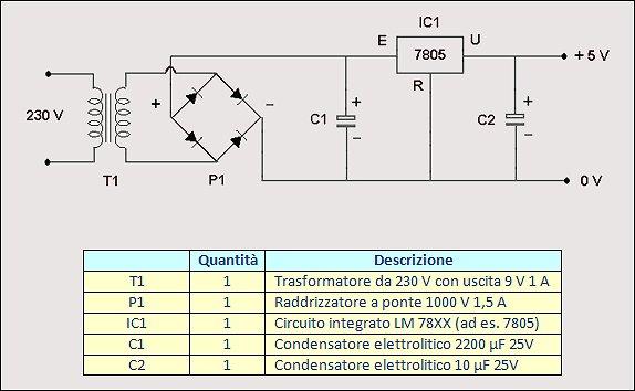Schema Elettrico Riduttore Di Tensione Da 24v A 12v : Come costruire un alimentatore stabilizzato esperimentanda